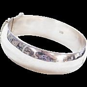 """Sterling Silver Wide Hinged Bangle Bracelet ~ 7 5/8"""""""