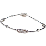 Sterling Silver Faux Diamond Bracelet ~ 7 3/8""