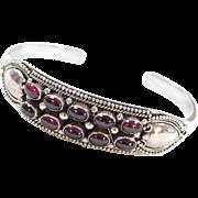 Sterling Silver Rhodolite Garnet Cuff Bracelet