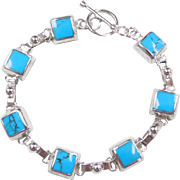 "Sterling Silver Turquoise Bracelet ~ 7 1/4"""