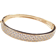 Sterling Silver and Gold Vermeil Diamond Hinged Bangle Bracelet 7""