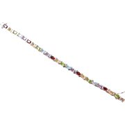 Sterling Silver Colorful Gemstone Bracelet ~ 7 1/4""