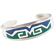 Sterling Silver Green and Blue Turquoise Chip Inlay Cuff Bracelet