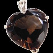 Sterling Silver Smoky Quartz Heart Pendant