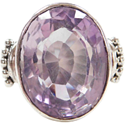 Sterling Silver Big Amethyst Ring