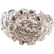Sterling Silver Round Nugget Style Ring