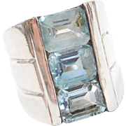 Sterling Silver WIDE Blue Topaz Ring