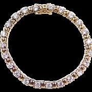 """Gold Vermeil Faux Diamond Tennis Bracelet ~ 7"""""""