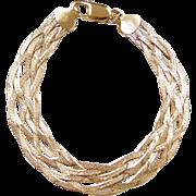Gold Vermeil Wide Woven Bracelet ~ Sterling Silver