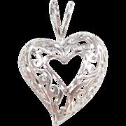 Sterling Silver Swirl Filigree Heart Pendant