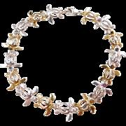 "Sterling Silver and Gold Vermeil Turtle Bracelet ~ 7 1/4"""