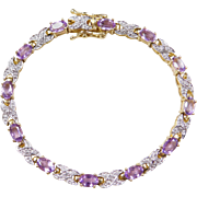 Sterling Silver & Gold Vermeil Amethyst and Diamond Bracelet 7""