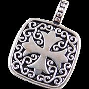 Sterling Silver Ornate Cross Pendant