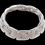 """Sterling Silver Faux Diamond Link Bracelet  ~ 7 1/2"""""""
