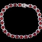 "Sterling Silver Red Glass Bracelet ~ 7 3/4"""