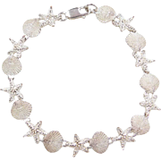 """Sterling Silver Nautical Shell and Starfish Bracelet ~ 7 3/8"""""""
