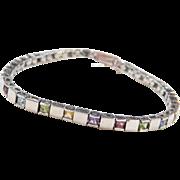 """Sterling Silver Colorful Gemstone Bracelet ~ 7 1/4"""""""
