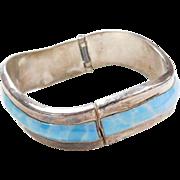 """Sterling Silver WIDE Faux Larimar Bangle Bracelet 7 1/4"""""""
