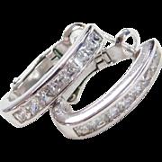 Sterling Silver Faux Diamond Hoop Earrings