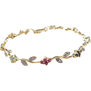 Two-Tone Ruby, Sapphire, Emerald and Diamond Flower Bracelet ~ Sterling Silver and Gold Vermeil