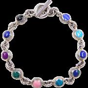 "Sterling Silver Stone Bracelet ~ 7 1/2"""