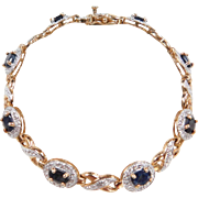 "Two-Tone Sapphire and Diamond Bracelet 7 1/4"" ~ Sterling Silver Gold Vermeil"