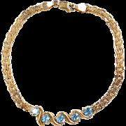 "Gold Vermeil Blue Topaz Bracelet ~ 7 1/2"" ~ Sterling Silver"