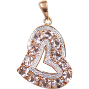 Rose Gold Vermeil Light Pink Topaz and Diamond Heart Pendant ~ Sterling Silver