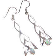 Sterling Silver Opal Celtic Earrings