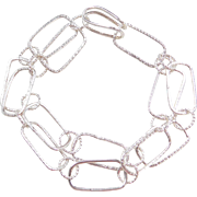 """Sterling Silver Fun and Funky Link Bracelet ~ 9 1/2"""""""