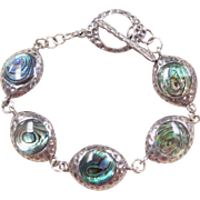 "Sterling Silver Abalone Shell Bracelet ~ 7"""