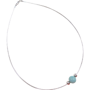 Sterling Silver Omega Chain with Chalcedony and Silver Beads ~ 18""
