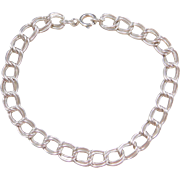 "Sterling Silver Double Link Charm Bracelet ~ 7 1/4"""