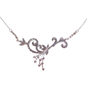 "Sterling Silver Marcasite Necklace ~ 16"" - 18"""