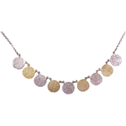 """Sterling Silver Gold Vermeil Coin Necklace ~ 17"""""""
