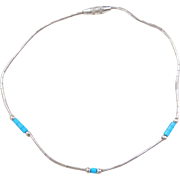 """Sterling Silver Faux Turquoise Bead Bracelet ~ 8"""""""