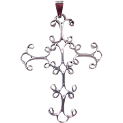 Sterling Silver Big Ornate Cross Pendant