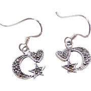 Sterling Silver Marcasite Moon, Star and Heart Dangle Earrings