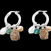 Sterling Silver Stone Dangle Hoop Earrings