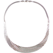 Sterling Silver Bib Necklace  ~ 16""