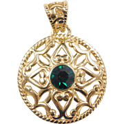 Gold Vermeil Sterling Silver Green Glass Fashion Pendant
