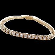 "Gold Vermeil Faux Diamond Tennis Bracelet Sterling Silver ~ 7 1/8"""