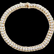 "Gold Vermeil Faux Diamond Tennis Bracelet Sterling Silver ~ 7 1/4"""