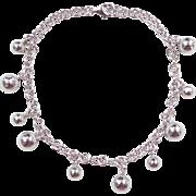 "Sterling Silver Ball Charm Bracelet ~ 7 1/4"""