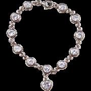 Sterling Silver Faux Diamond Bracelet with Heart Charm