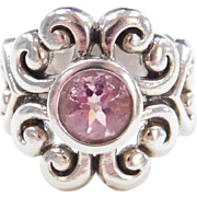 Sterling Silver Ornate Swirl Pink Ice Ring
