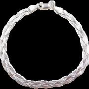 "Sterling Silver Braided Bracelet ~ 7 1/4"""