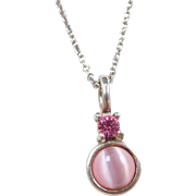 """Sterling Silver Pink Ice and Cats Eye Necklace ~ 18"""""""