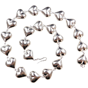 Sterling Silver Puff Heart Necklace 21 1/2""