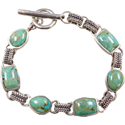 Sterling Silver Green Turquoise Bracelet ~ 7 1/2""